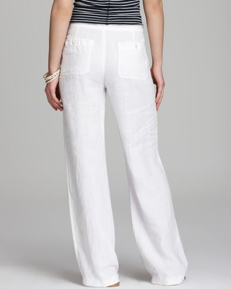 Wonderful Vince Beach Linen Pants In White  Lyst
