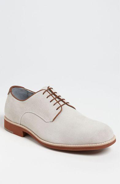 johnston murphy ellington suede buck shoe in white for