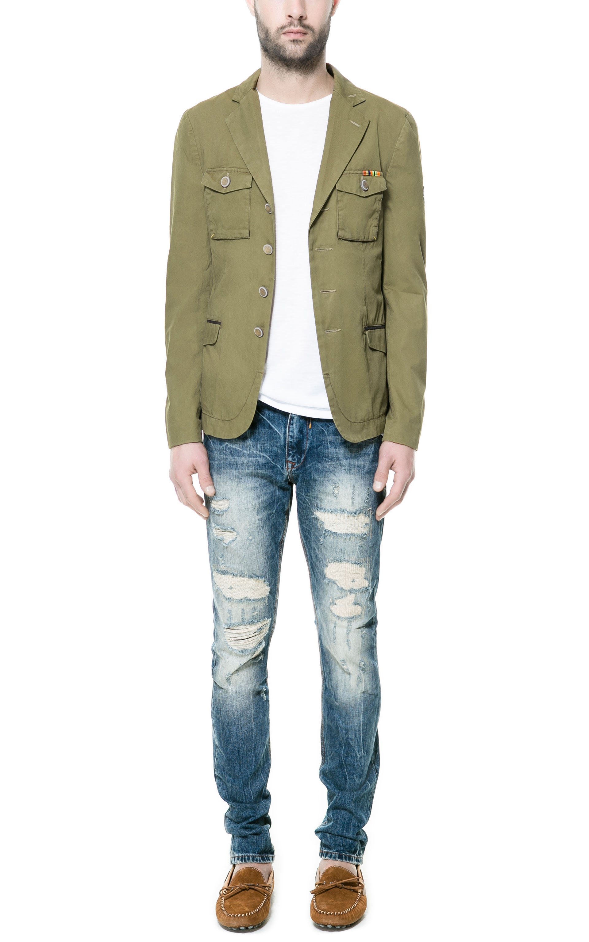 Zara Military Blazer In Green For Men Khaki Lyst