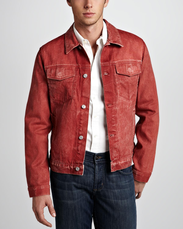 Lyst 7 For All Mankind Selvedge Denim Jacket In Red For Men