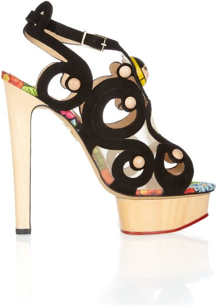Charlotte Olympia Anastasia Suede And Wooden Sandals In