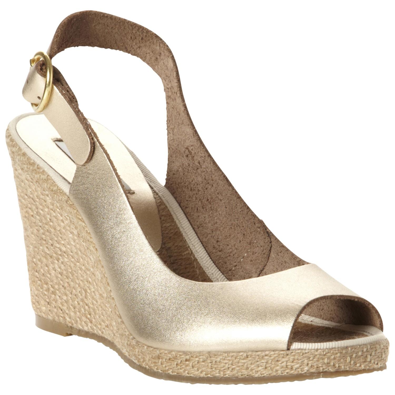 729313b68e7 Dune Gleeful Peep Toe Wedge Sandal in Metallic - Lyst
