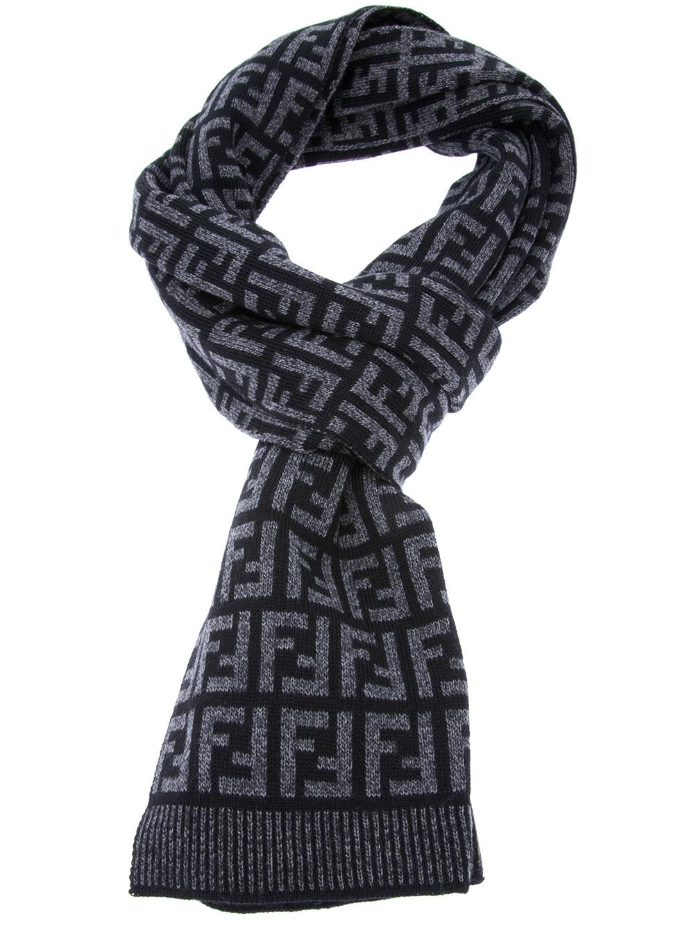 5800b359d67 ... australia lyst fendi logo print knit scarf in gray for men 12c7b 515e7