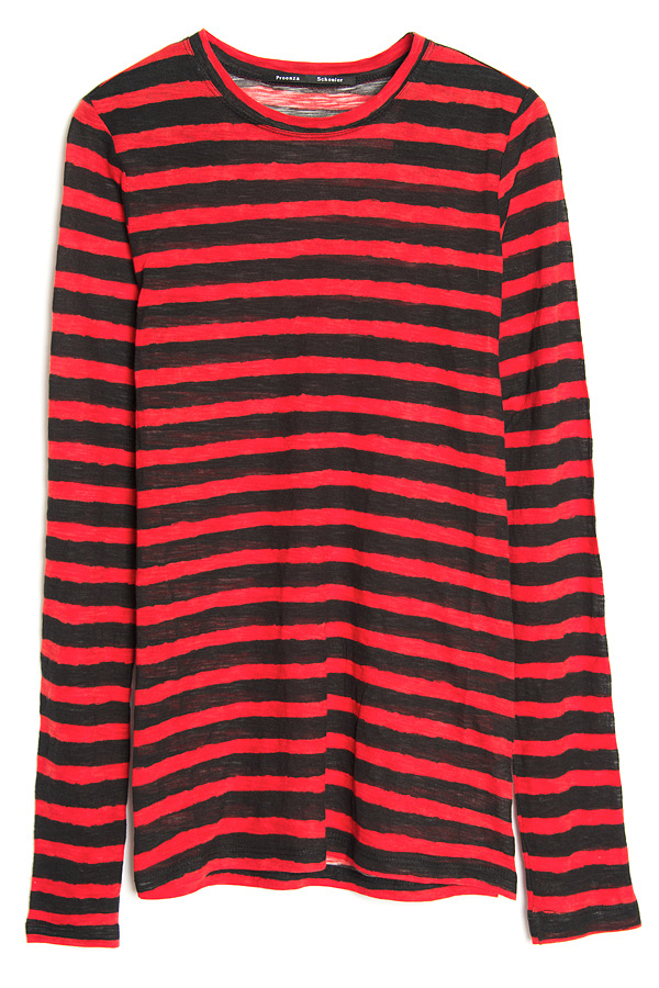 Lyst Proenza Schouler Long Sleeve Stripe Tee In Red