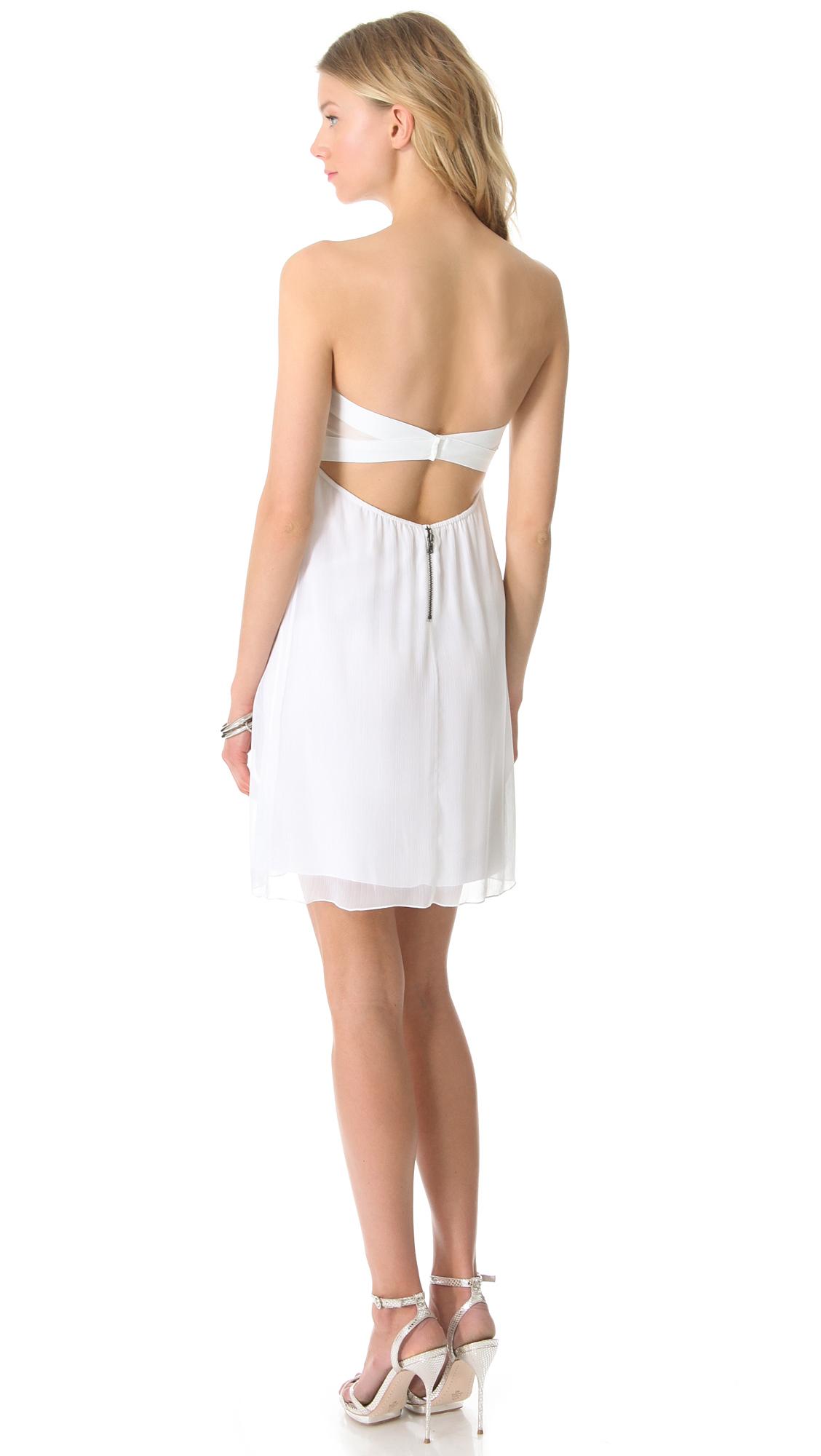 Alice   olivia Alice Olivia Center Drape Strapless Dress in White ...