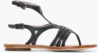 Belle By Sigerson Morrison Black Leather Art Deco Flat Sandals - Lyst