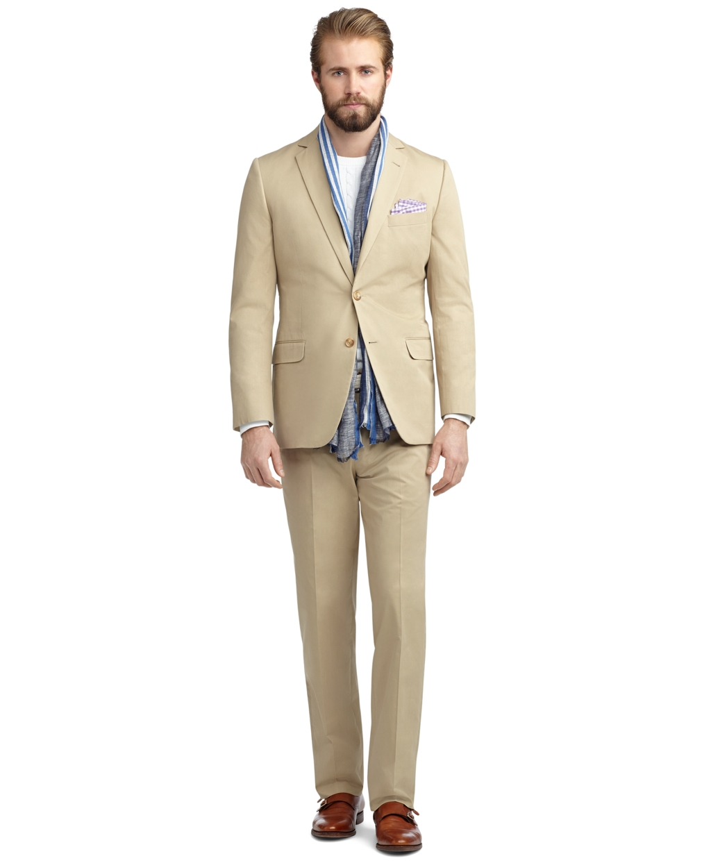 Brooks Brothers Fitzgerald Fit Twill Suit In Natural For