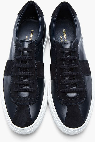 Common Projects Navy Leather Suede Tennis Shoes In Blue