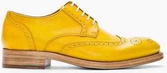 Kenzo Mustard Yellow Leather Elliott Wingtip Brogues - Lyst