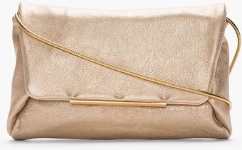 Lanvin Metallic Gold Leather Chainstrap Clutch - Lyst