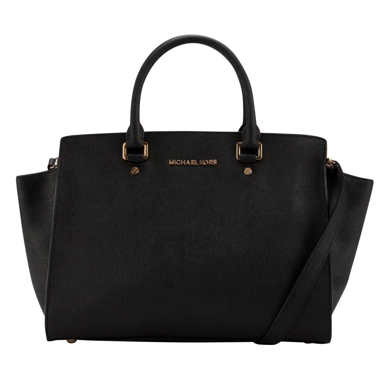 michael michael kors selma leather large tote bag in black lyst. Black Bedroom Furniture Sets. Home Design Ideas