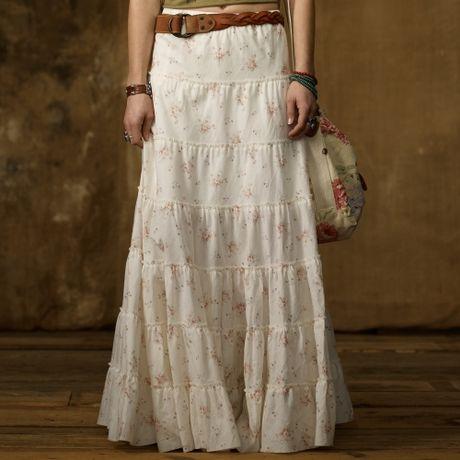 ralph tiered prairie skirt in white prairie floral