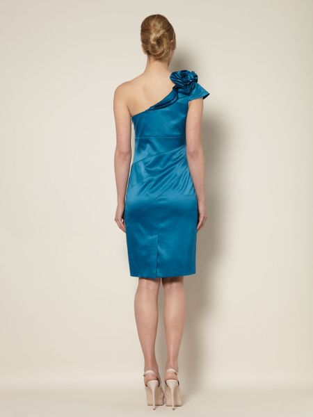 Untold Satin One Shoulder Ruffle Dress In Blue Teal Lyst