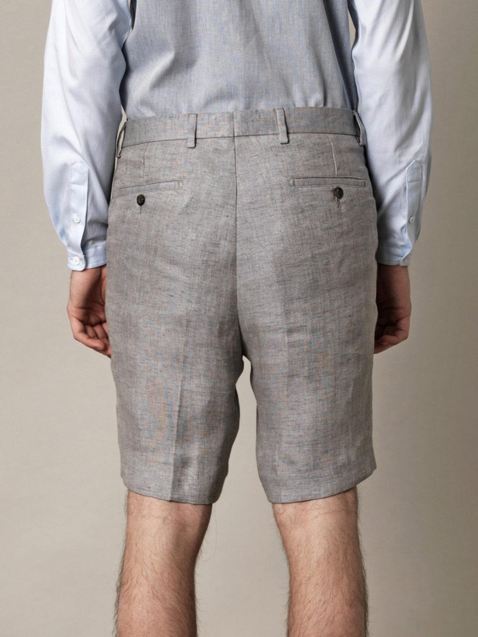 Ami Linen Bermuda Shorts in Gray for Men | Lyst