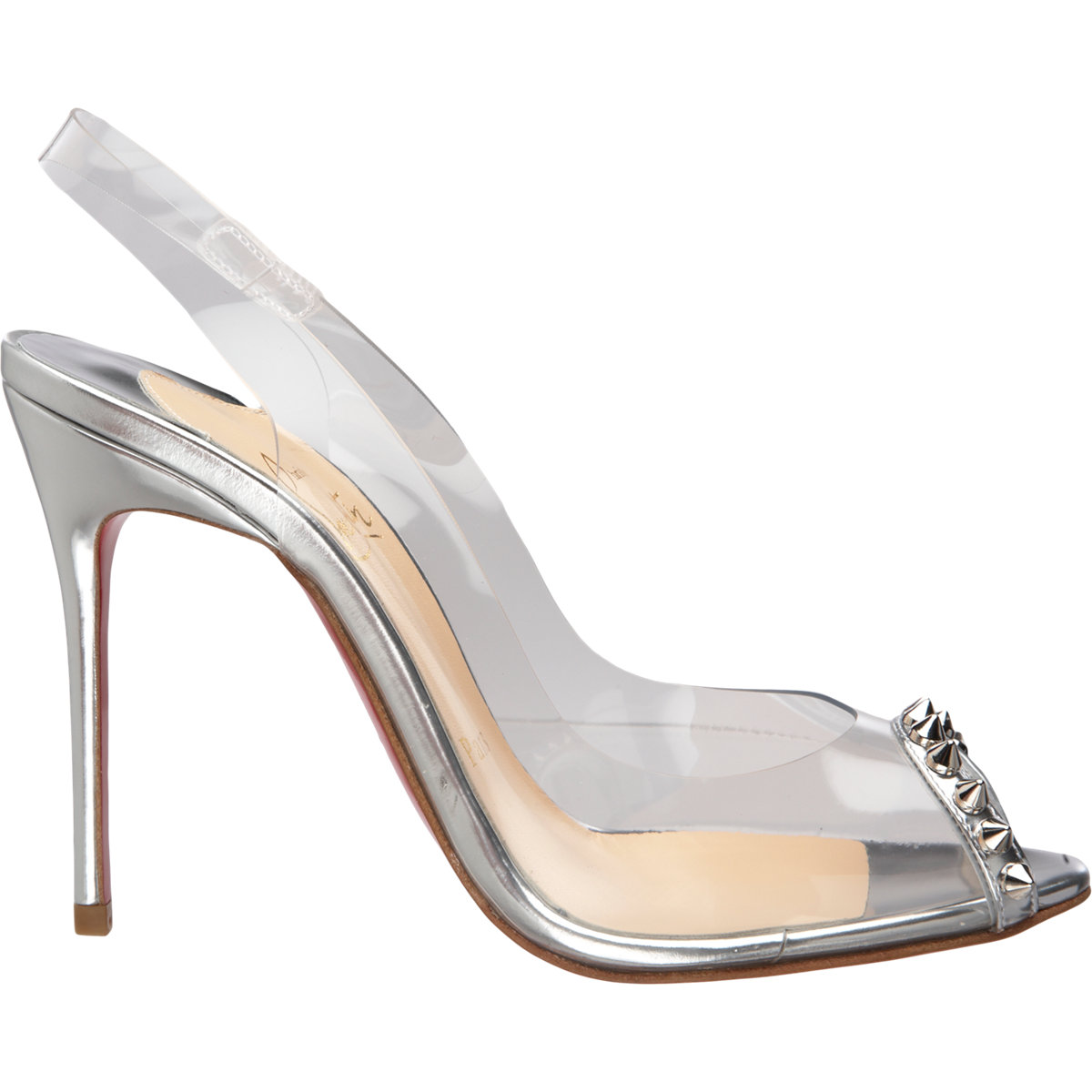 louboutins sneakers - christian louboutin PVC and leather slide sandals Silver-tone ...