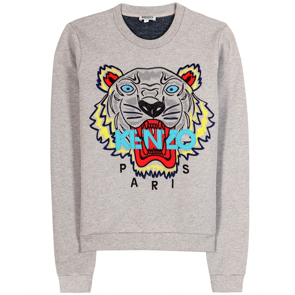 kenzo logo print sweater in gray lyst. Black Bedroom Furniture Sets. Home Design Ideas
