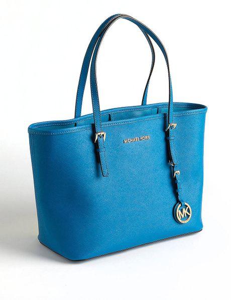 michael michael kors small jetset travel tote bag in blue
