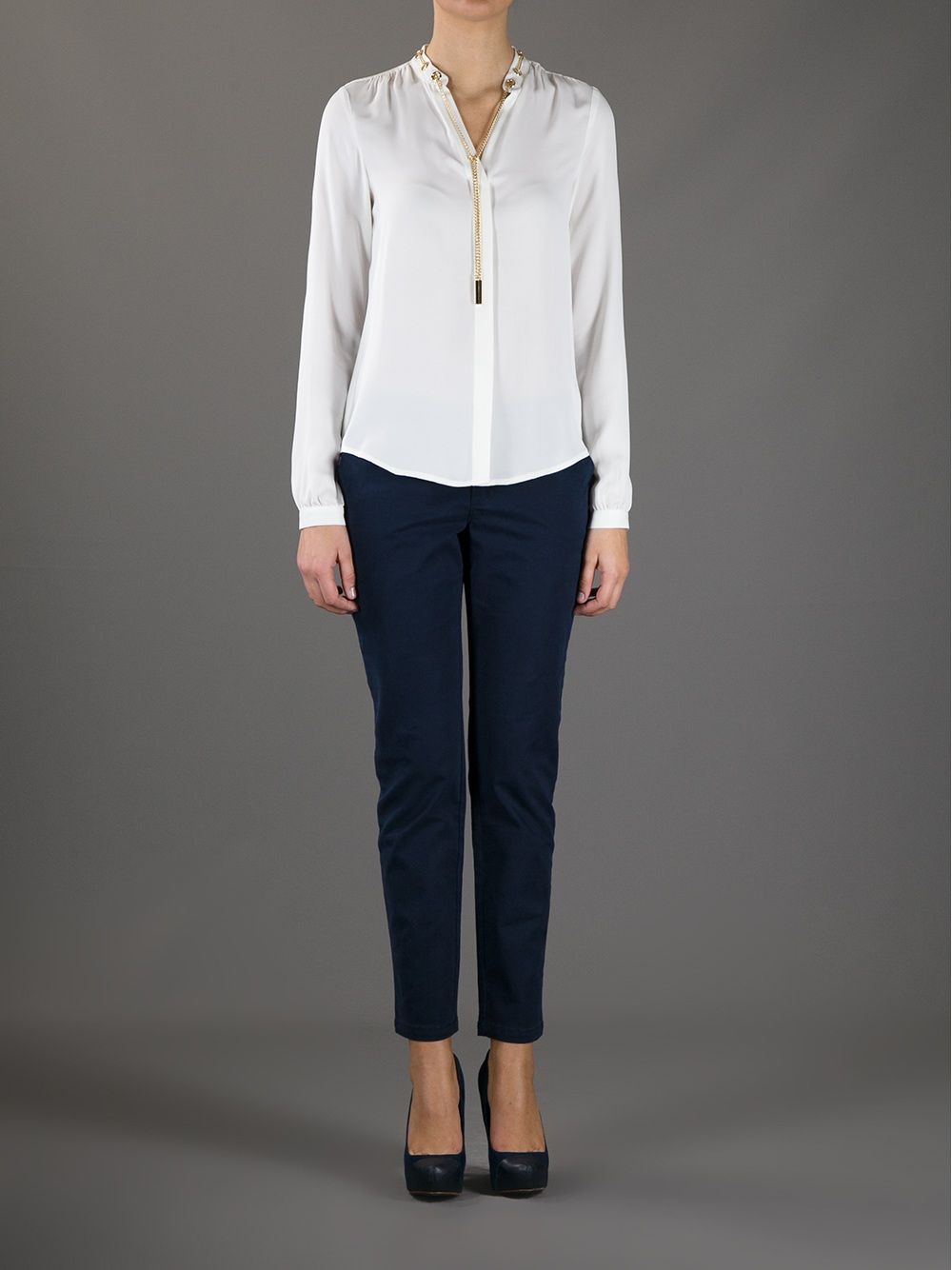michael michael kors silk blouse in white lyst. Black Bedroom Furniture Sets. Home Design Ideas