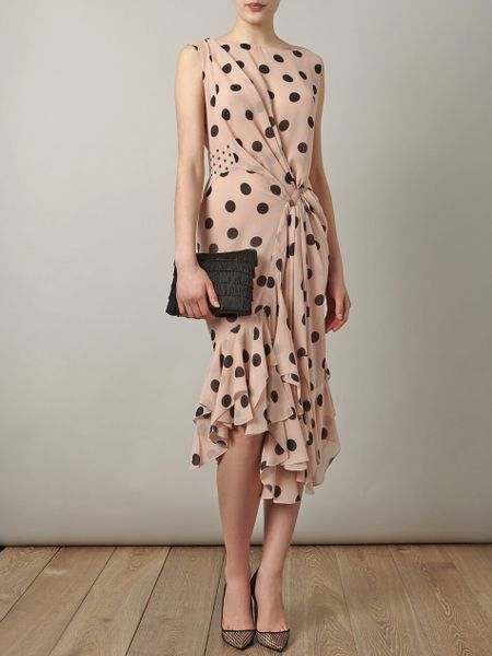 Nina Ricci Silk Polka Dot Dress In Pink Blush Lyst