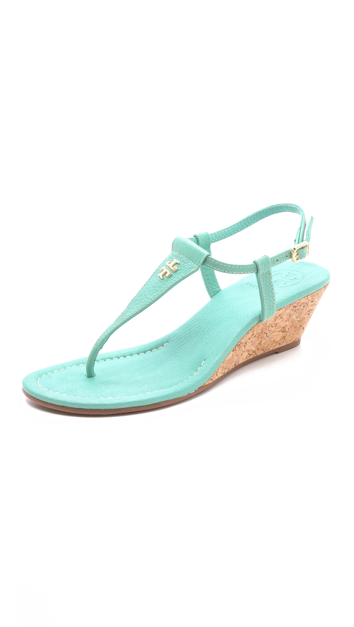 Lyst Tory Burch Britton Wedge Thong Sandals In Green