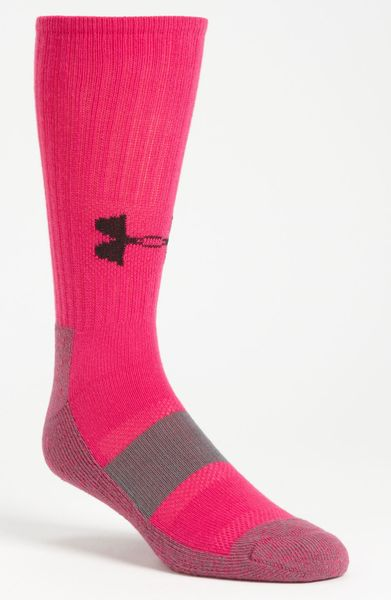 Under Armour Performance Crew Socks in Pink for Men (end ...