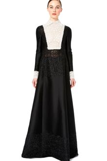 Valentino Long Sleeved Gown with Embroidered Bodice and Lace Trim - Lyst