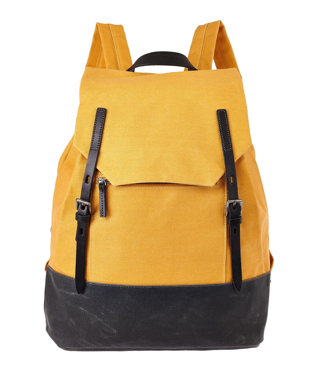 Ally Capellino Mustard Dean Waxed Canvas Backpack In