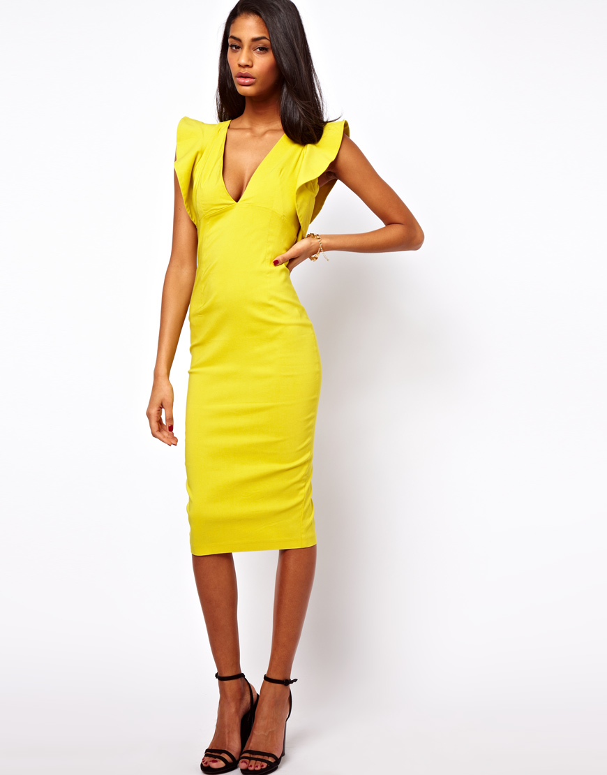Asos Pencil Dress with Ruffle Sleeve in Yellow | Lyst