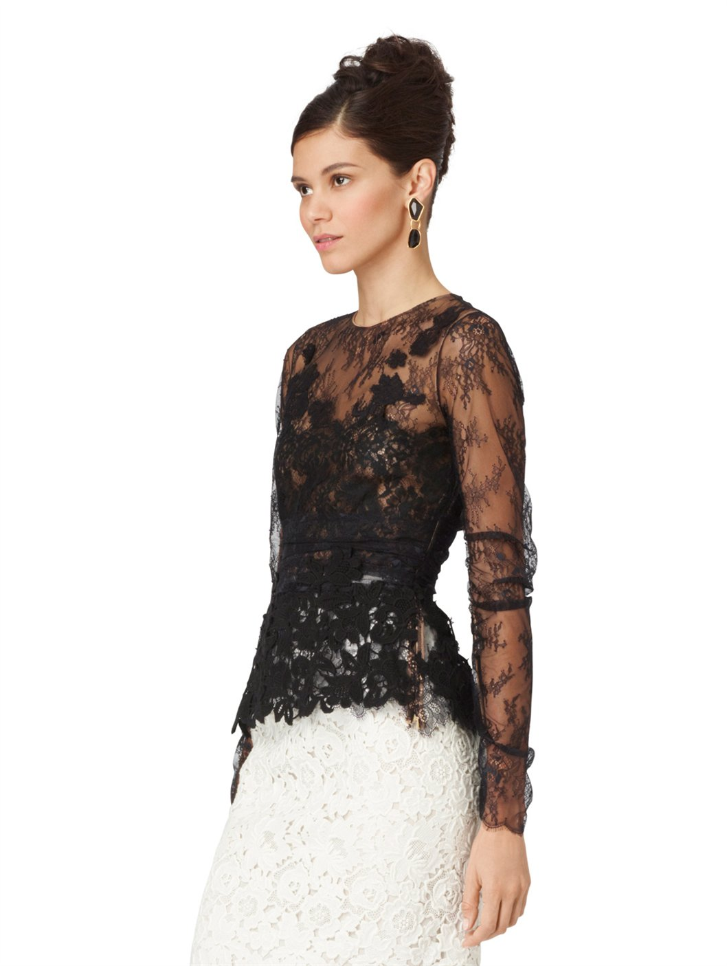 Oscar de la renta Long Sleeve Lace Blouse in Black | Lyst