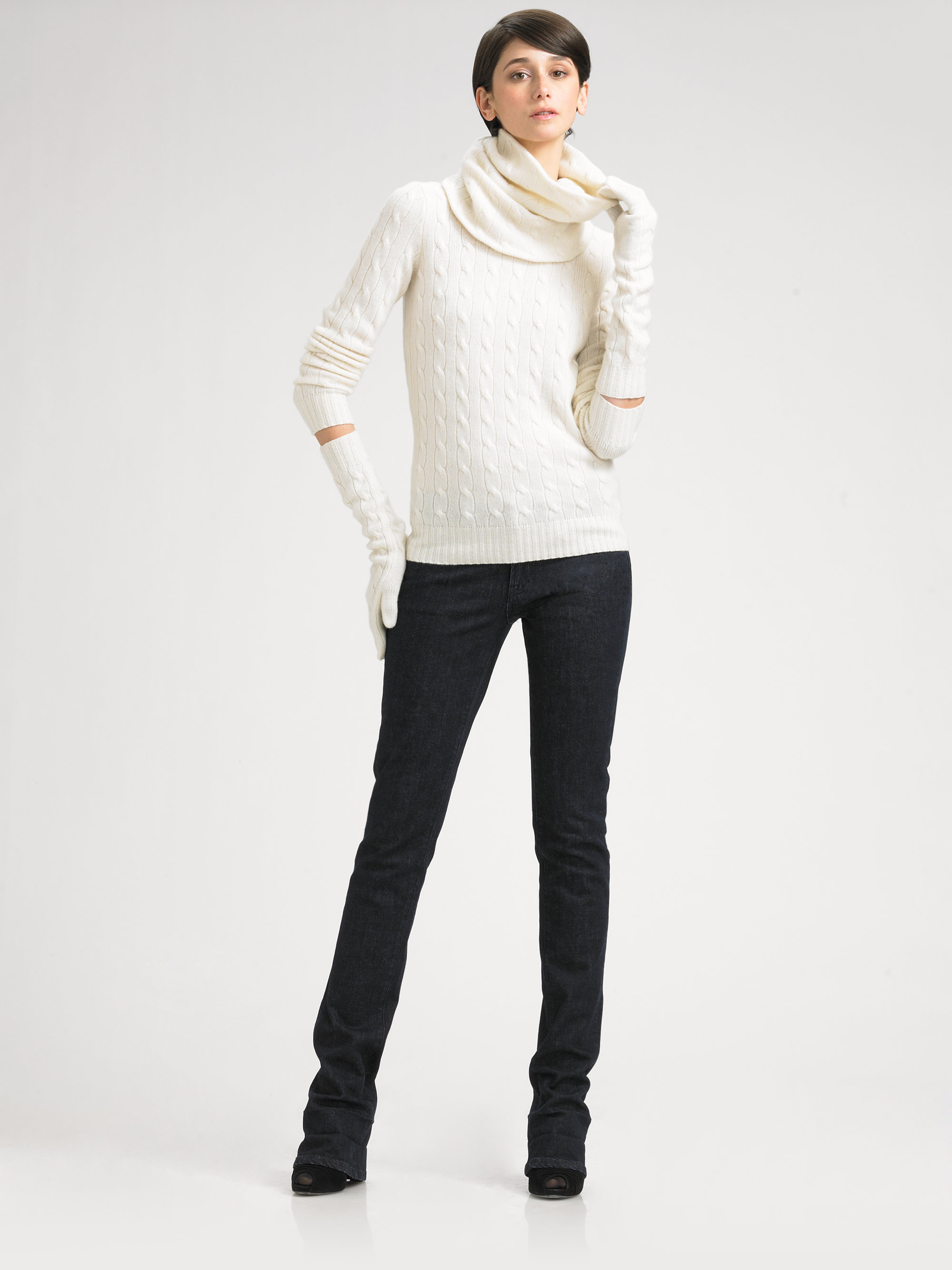 Ralph Lauren Black Label Snood Cable Knit Infinity Scarf