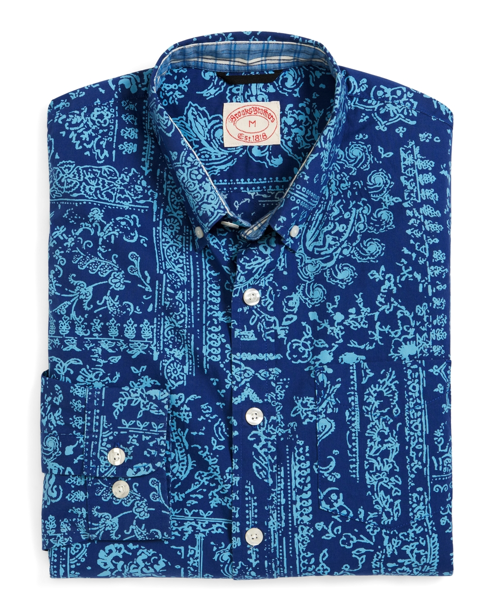 Brooks brothers hibiscus print short sleeve sport shirt in for Men s batik bay silk blend button down shirt
