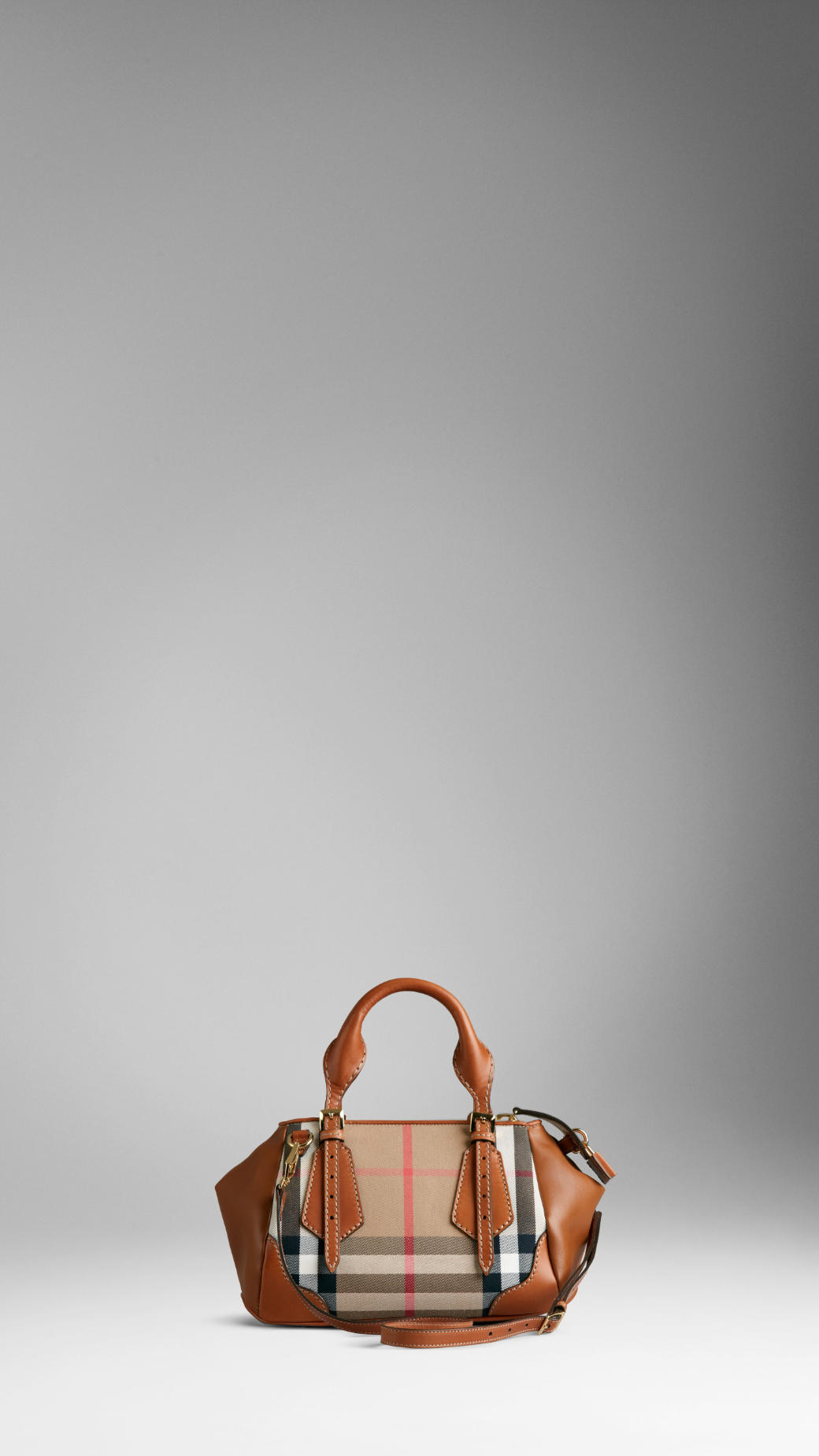 43e165d9bb56 Lyst - Burberry The Small Blaze in Check and Leather in Brown
