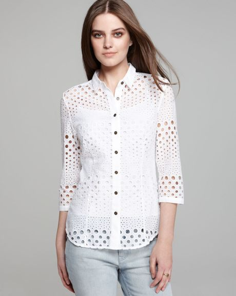 Burberry brit punched eyelet shirt in white lyst for Mens eyelet collar dress shirts