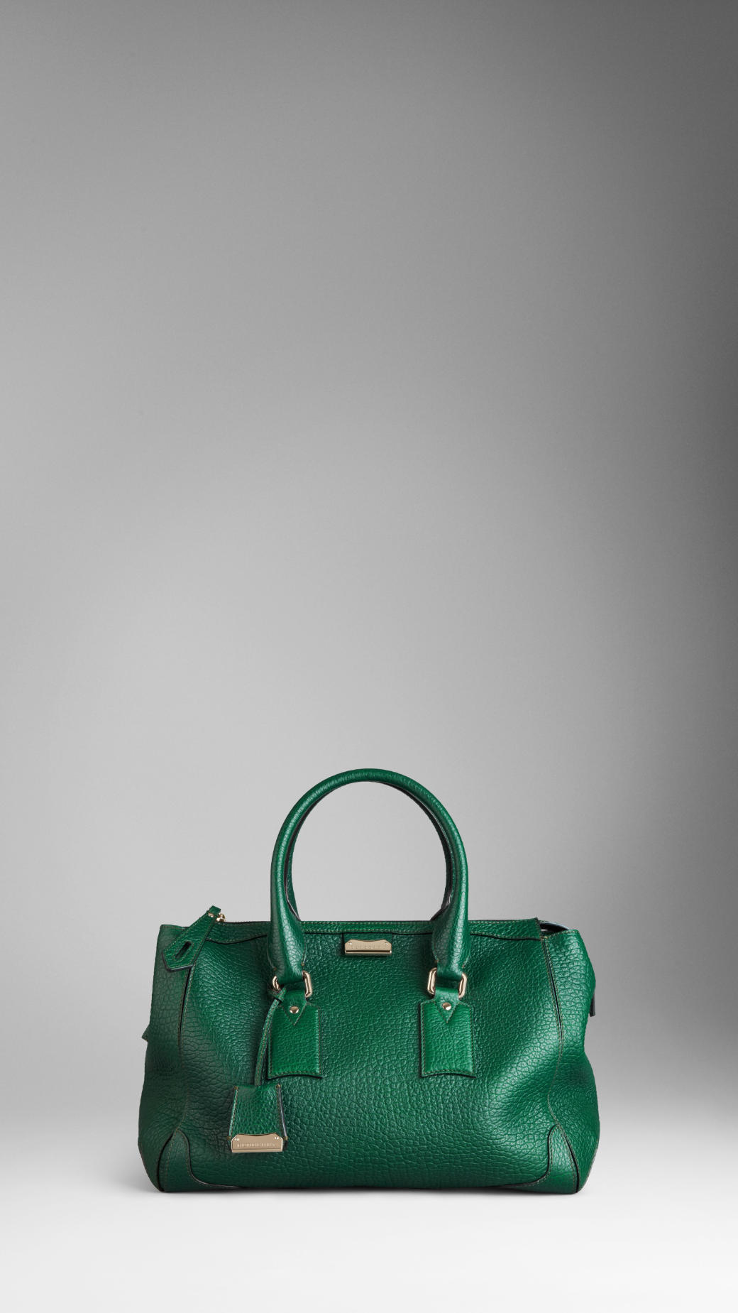 2f97255113 Burberry Large Heritage Grain Leather Tote Bag in Green - Lyst