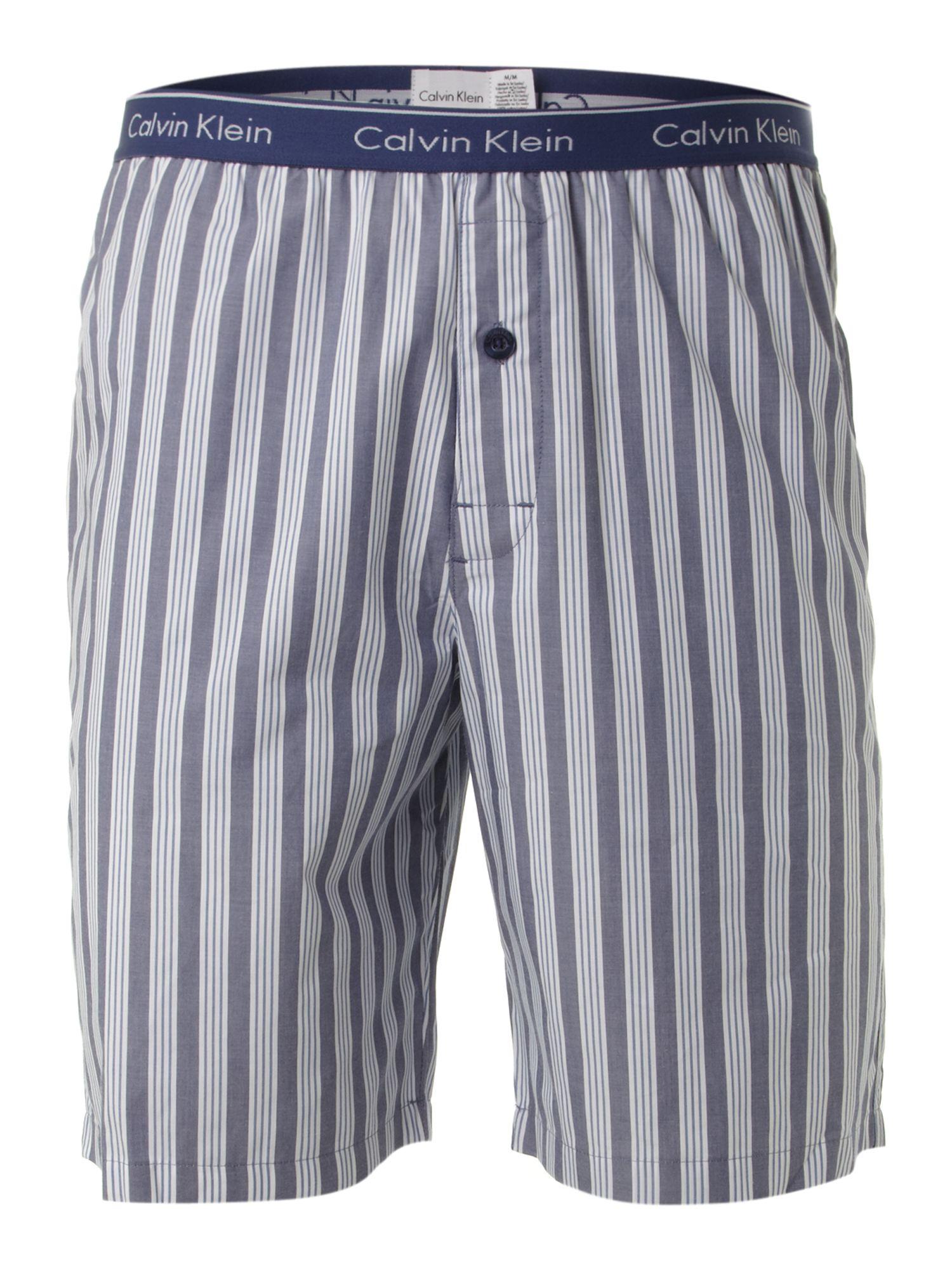 Calvin Klein Spring Stripe Nightwear Short In Blue For Men