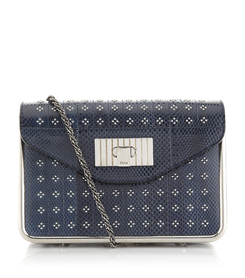 Chlo¨¦ Sally Small Frame Studs Shoulder Bag in Blue (silver) | Lyst