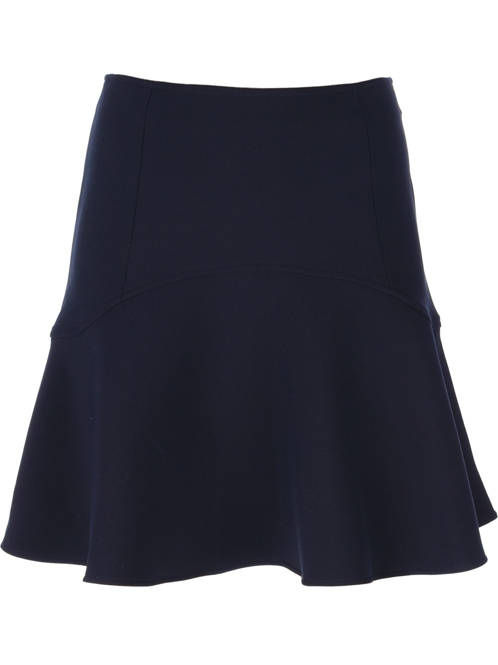 le mont st michel flared high waisted skirt in blue navy