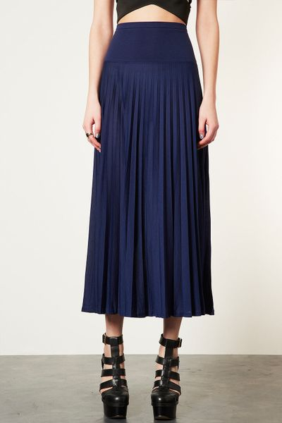 topshop high waist pleated maxi skirt in blue navy blue