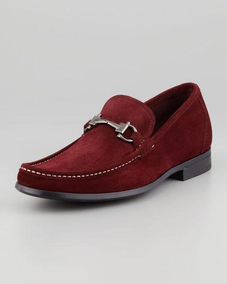 Ferragamo Magnifico Suede Loafer In Red For Men burgundy