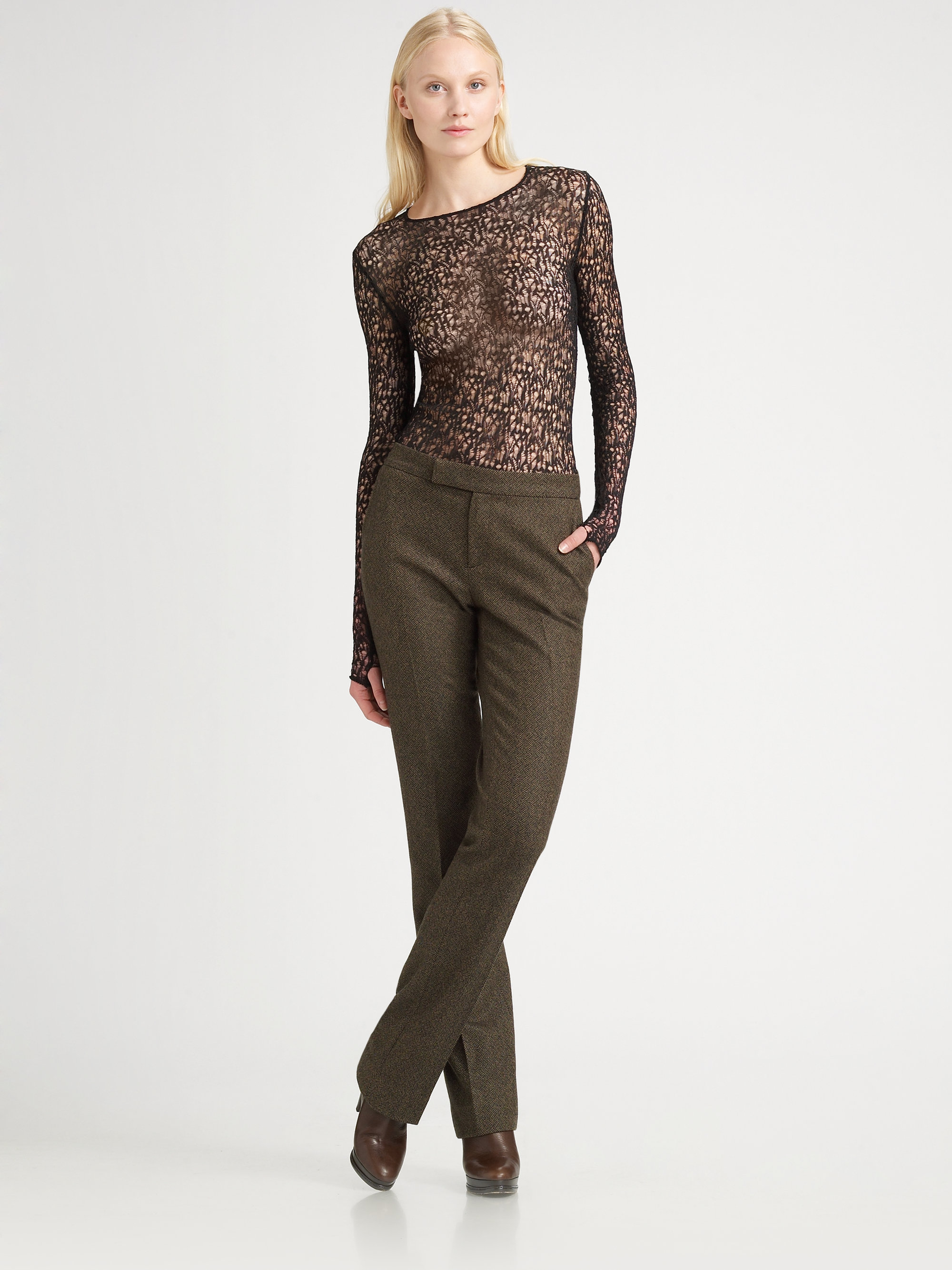 lyst ralph lauren collection wool cashmere tweed pants in brown. Black Bedroom Furniture Sets. Home Design Ideas