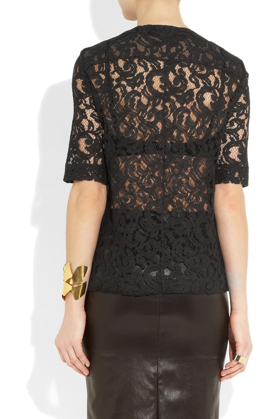 Lyst Victoria Beckham Lace Shirt In Black