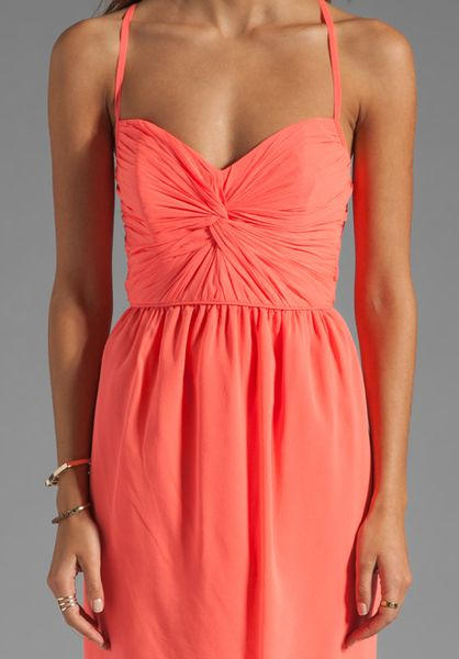 Shoshanna Carine Dress In Neon Peach In Pink Coral Lyst