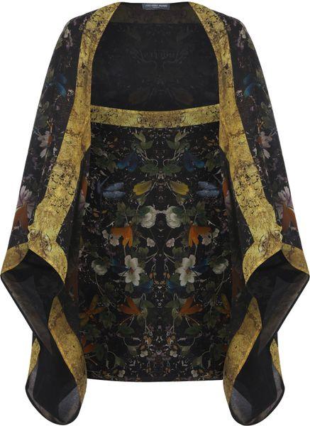 Alexander Mcqueen Floral Dragonfly Print Gold Trim Silk Cape in Floral - Lyst