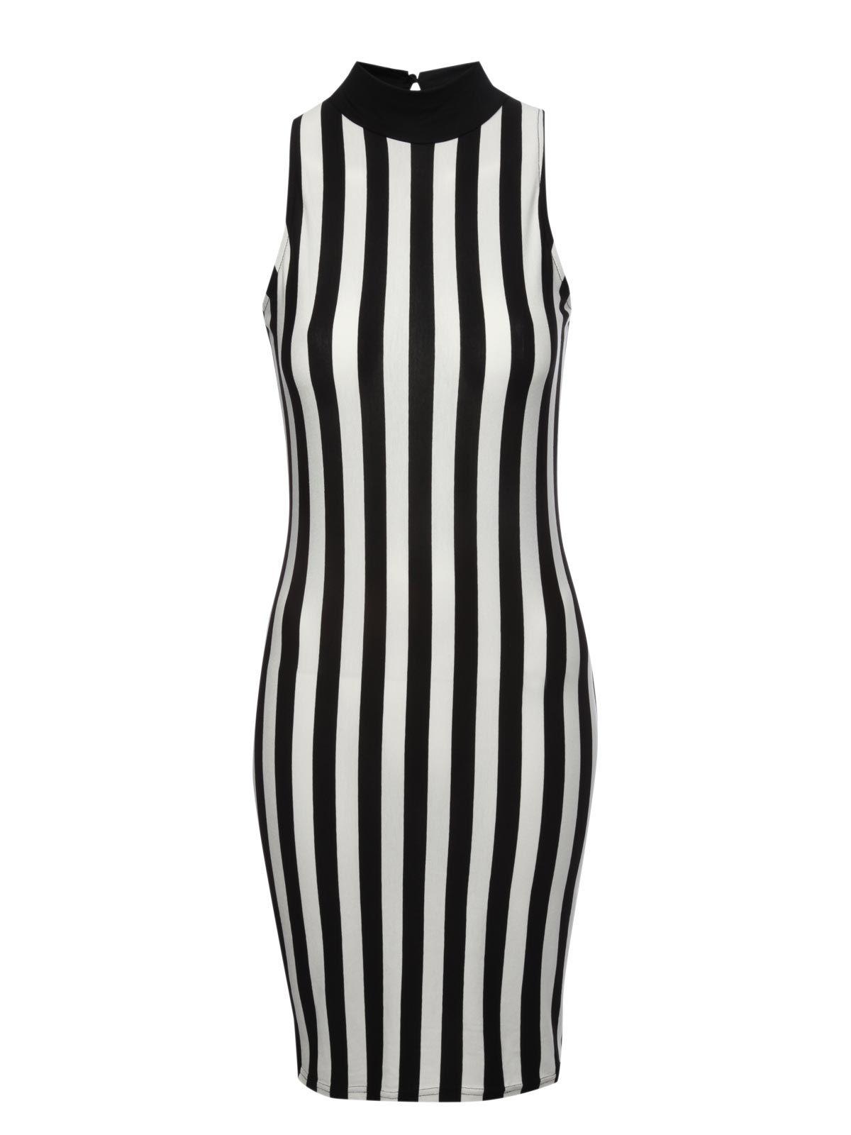 jane norman vertical stripe bodycon dress in black black