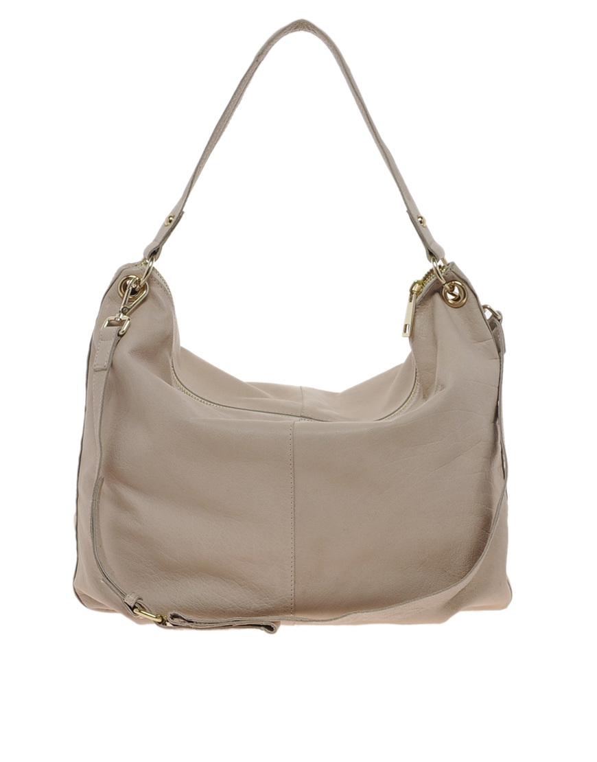 River island Clean Leather Slouch Hobo Bag with Studs in Natural ...