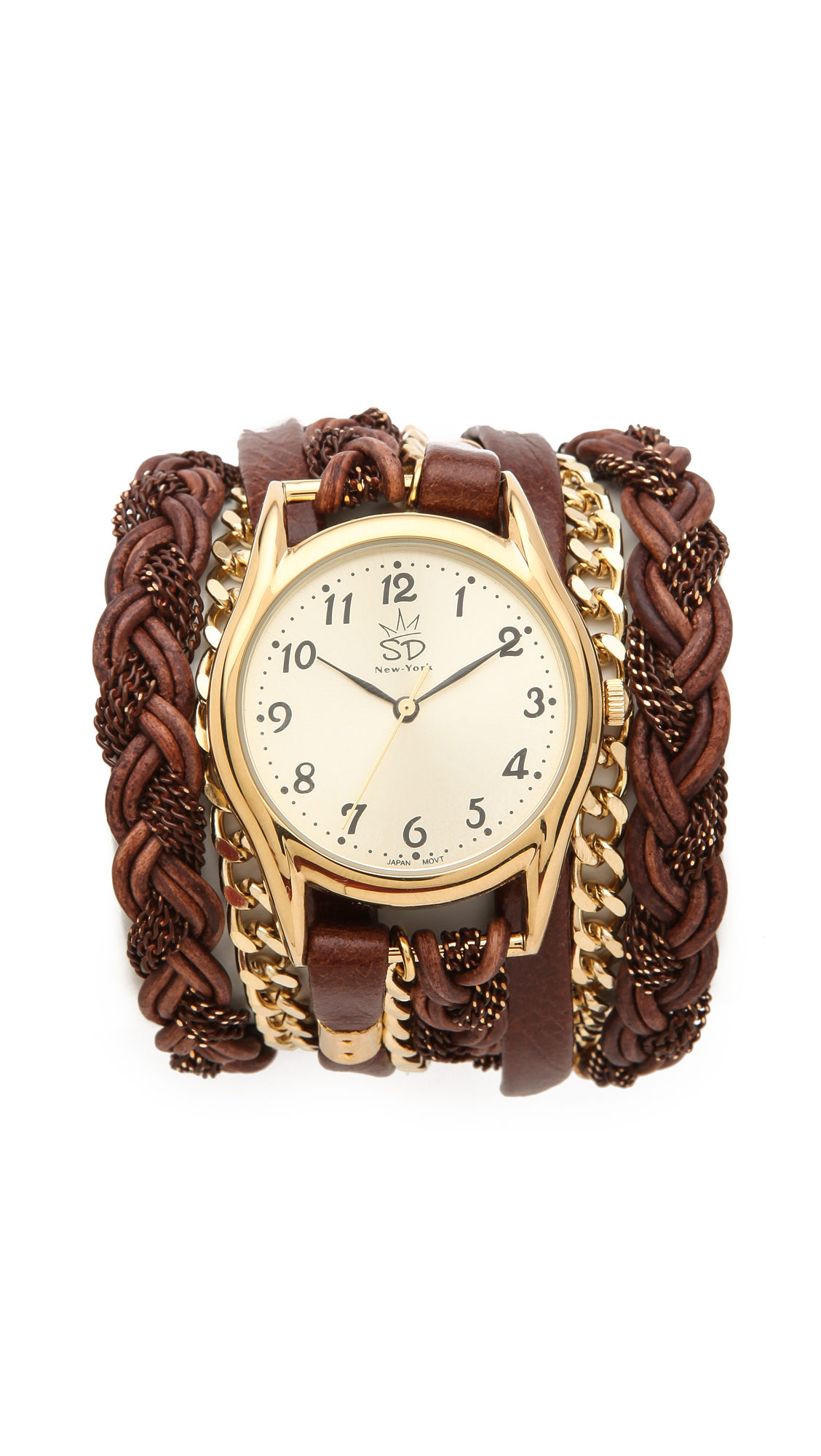 Lyst - Sara designs Leather Braid Chain Wrap Watch in Brown