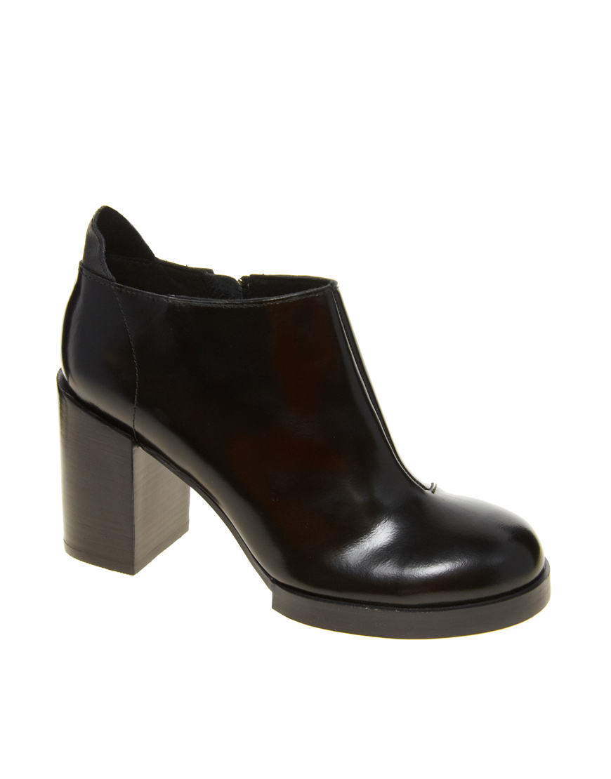 cheap monday leather layer leather ankle boot in black lyst