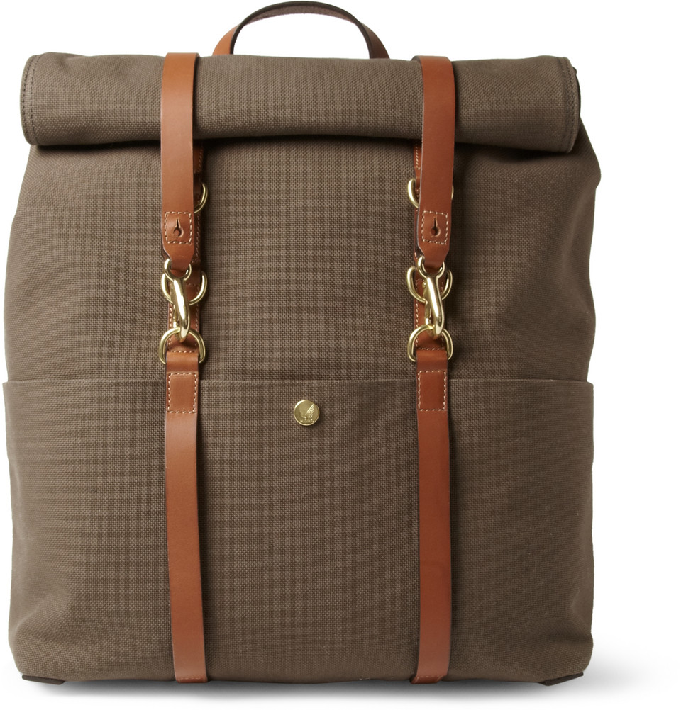 Mismo Leathertrimmed Canvas Backpack in Brown for Men | Lyst