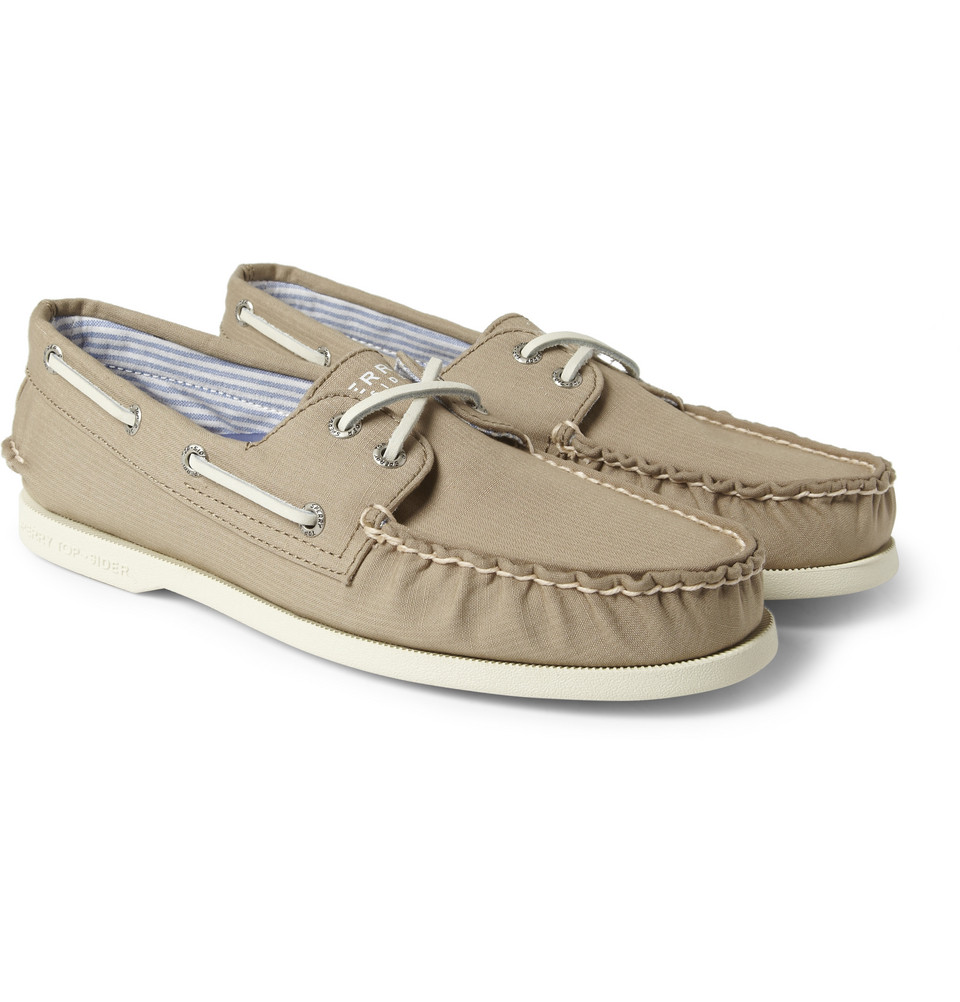 sperry top sider canvas boat shoes in brown for lyst