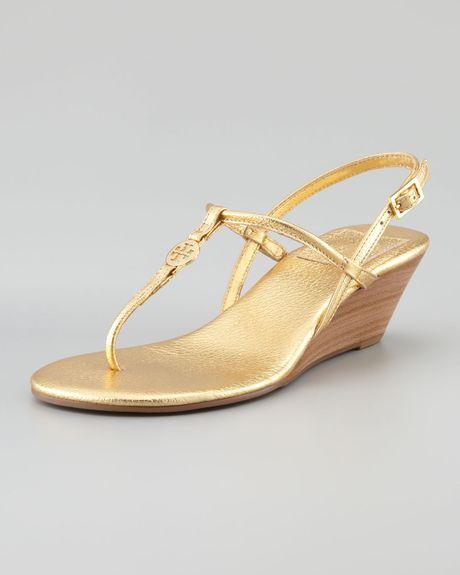 Tory Burch Emmy Demi Wedge Thong Sandal in GoldTory Burch Emmy Wedge Sandals